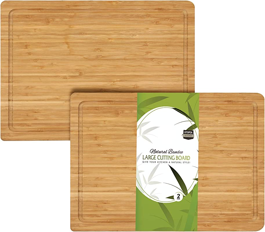 Utopia Kitchen Extra Large Bamboo Cutting Board 17 By 12 Inches Pack Of 2
