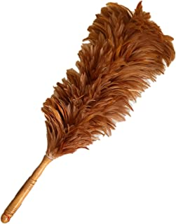AAYU Red Rooster Chicken Saddle Feather Duster| 24 inches | House or Car Cleaning Indoor/Outdoor Use | Genuine Wooden Handle |62 cm Overall Long
