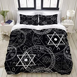 "Mokale Twin Size Duvet Cover,Seamless Mystic Pattern Occult Symbols Pentacles,Decorative 3 Piece Bedding Set with 2 Pillow Shams,Zipper Closure,Ultra Soft 68"" 86"""