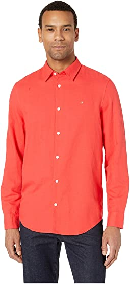 Long Sleeve Cotton Linen Button Down Shirt