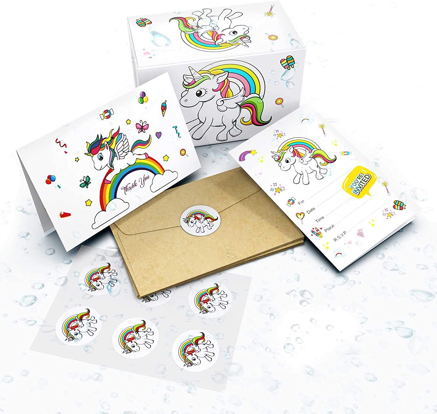 Unicorn Invitations Birthday Party Cards  24 Invite Card + 24 Thank You Card + Bonus 24 Tattoos + 48 Envelopes and Stickers  Blank Inside Invites for Girls Boys Birthdays Kids Party Baby Shower