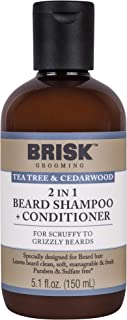 Brisk Beard Grooming Shampoo, Tea Tree & Cedarwood, 5.1 Oz