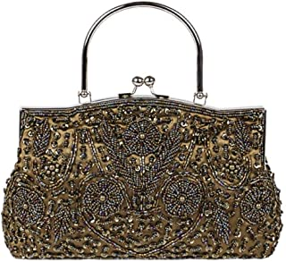IRVING Women Beaded Sequin Design Clutch Handbag Shoulder Bag Purse (Color : Coffee)