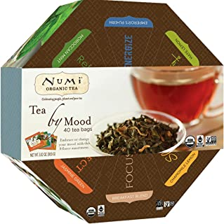 Numi Organic Tea By Mood Gift Set, 40 Count Tea Bag Assortment - Premium Organic Black, Pu-erh, Green, Mate, Rooibos & Herbal Teas (Packaging May Vary)