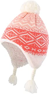 Toddler Infant Baby Sherpa Lined Knit Kids Hat with Earflap Winter Hat
