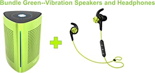 UJOY Bluetooth Vibration Speakers and in-Ear Headphones Bundle-Portable Vibration Speakers 36 Watts Enhanced Bass-Sport Earphones, Earbuds with Microphone Ibfree 2018 Models Green