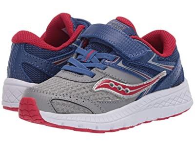 Saucony Kids S-Cohesion 13 A/C (Toddler/Little Kid) (Blue/Grey/Red Leather/Mesh) Boys Shoes