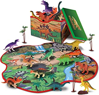GILOBABY 恐竜おもちゃ 恐竜フィギュア 2IN1恐竜 おもちゃ マット 収納ボックス 恐竜遊び リアルな恐竜おもちゃ 樹木 ロック 創造できる恐竜公園 女の子 男の子 おもちゃ 子供の誕生日ギフト 6歳以上