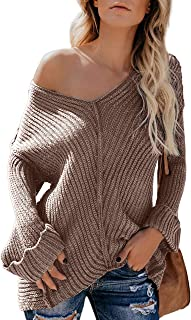 FARYSAYS Women's Off Shoulder V Neck Long Sleeve Casual Loose Pullover Knit Sweater Tops