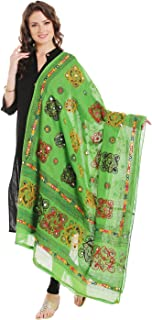 Dupatta Bazaar Women's Block Printed Cotton Green Dupatta with Aari & Mirror work.