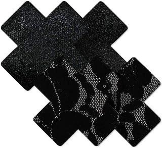 Nippies Women's Black Cross Waterproof Self Adhesive Fabric Nipple Cover Pasties