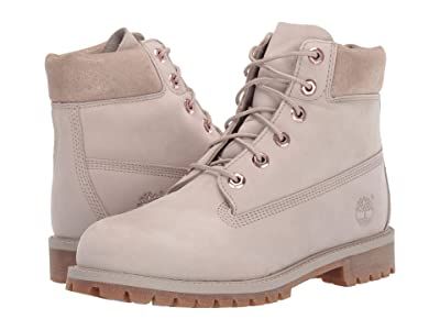 Timberland Kids 6 Premium Waterproof Boot (Big Kid) (Light Taupe Nubuck) Girls Shoes