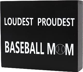 JennyGems Wood Box Sign Loudest Proudest Baseball Mom - Baseball Decor and Accessories - Photo Prop - Mantel Decoration - Baseballism Quotes and Sayings- Baseball Team Mom - Quote Decor