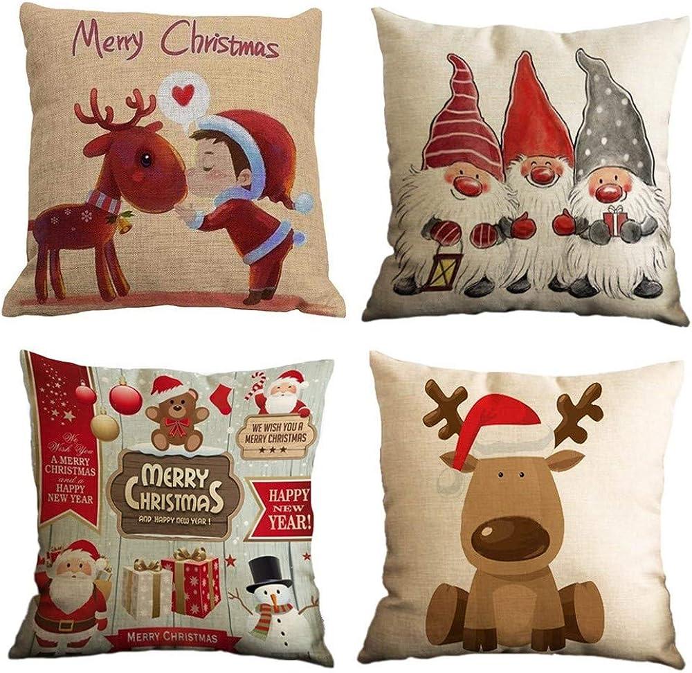 Gspirit 4 pack cuscini per divani in cotone decorativi per il natale in cotone e lino Gspirit