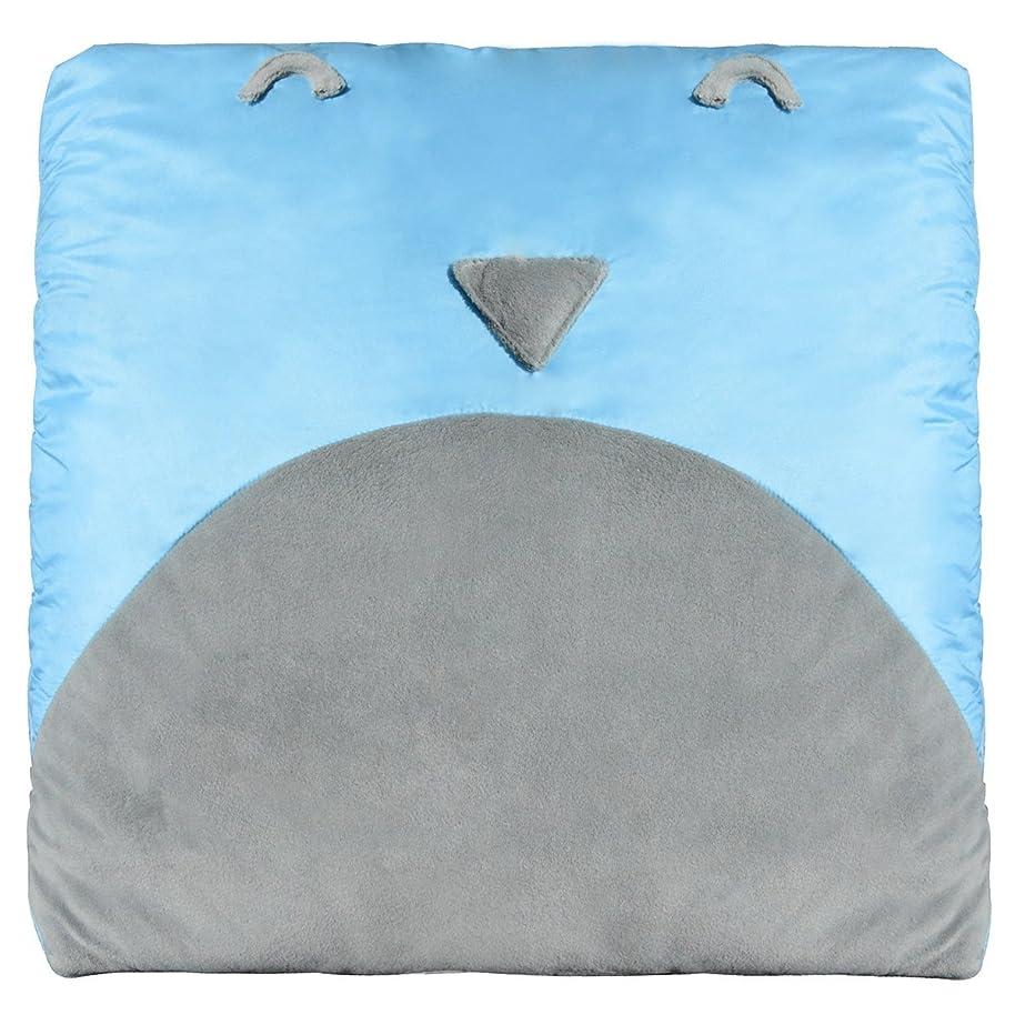 驚いたことにどっちケニアpuredown 多機能クッション ダウンブランケット 両用抱き枕 防寒毛布 掛けふとん一体型 ソファー 冷房対策四季通用ブランケット かわいいペンギン柄のパタンー,ブルー,40×40CM