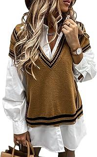 Suéter sin mangas para mujer con cuello en V, suéter de punto grueso y argyle de gran tamaño, para otoño e invierno (colo...