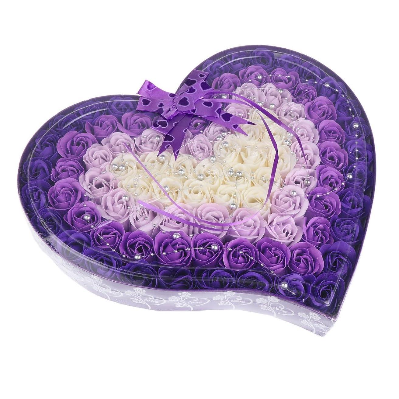 素子特権名前を作るFenteer ソープフラワー  約100個 心の形 ギフトボックス 石鹸の花 誕生日  プレゼント 全4色選べる - 紫