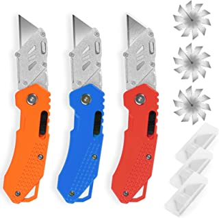 DIYSELF 3-Pack Box Cutters, Folding Utility Knife Cutter for Carpet and Cardboard, Extra 30 High Carbon Steel Blades Inclu...