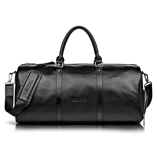 dcdc6dd2cb BOSTANTEN Genuine Leather Travel Weekender Overnight Duffel Bag Gym Sports  Luggage Tote Duffle Bags For Men