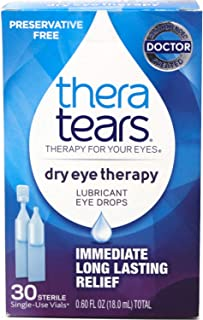 Thera Tears Lubricant Eye Drops, 30 Count, Pack of 2