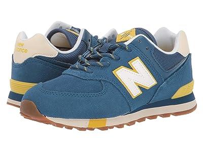 New Balance Kids 574v1-USA (Little Kid) (NB Dark Blue/Chartreuse) Kids Shoes