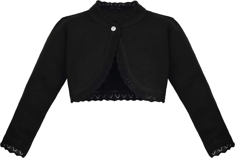 Lilax Baby Girls' Knit Long Sleeve Button Closure Bolero Cardigan Shrug