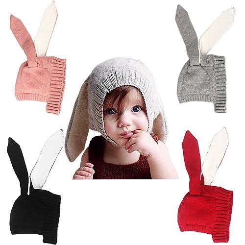 8e8254c1abc QIMOUSE Baby Toddler Kids Boy Girl Knitted Crochet Rabbit Ear Beanie Winter  Warm Hat Cap
