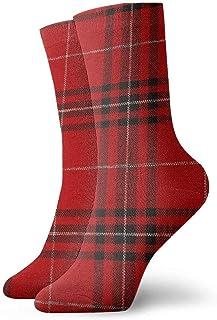 tyui7, Calcetines de compresión antideslizantes de tela a cuadros rojos Calcetines deportivos acogedores de 30 cm para hombres, mujeres y niños
