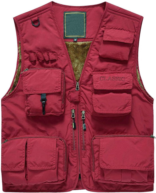 Haellun Men's Warm Fleece Lined Outwear Multi Pockets Outdoor Vest Sleeveless Jacket