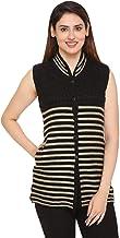 PIPASA Women Woollen Buttoned v-Shape Sleeveless Cardigan