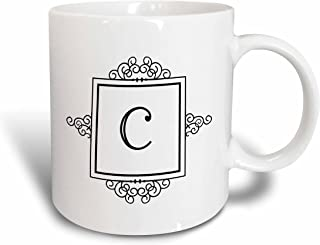3dRose mug_154326_2 Initial letter C personal monogrammed fancy black and white typography elegant stylish personalized Ceramic Mug, 15 oz, White