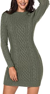 Azokoe Womens Winter Casual Slim Fit Knit Sweater Bodycon Mini Dress