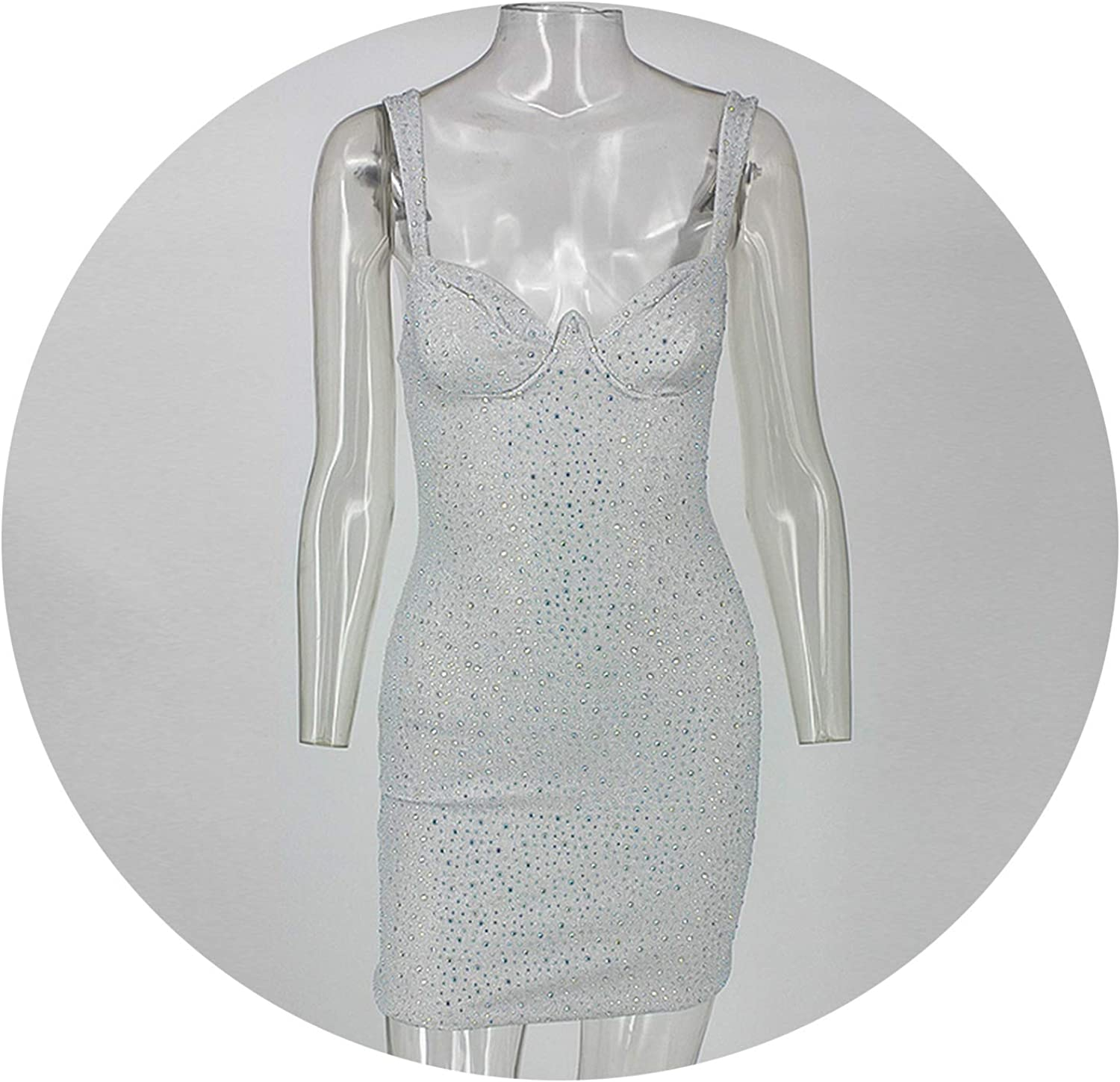 Sunny Super Backless Spaghetti Strap Sequined Club Wears Celebrity Party Dress
