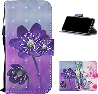 HMOON Wallet Case for Galaxy A5 2017, 3D Effect Purple Flower Pattern PU Leather Flip Cover [Magnetic Closure][Card Slots]...