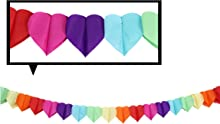 CC Party Co. Rainbow Paper Heart Shape Banner Decoration   Valentine's Day Gay Pride LGBTQ Baby Shower Kids   Favors Hanging Tissue Garland Streamers Tassel Bunting Balloon Door Colorful Multicolor