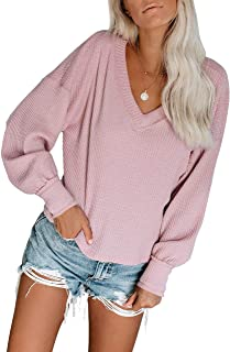 HBEYYTO Women's Waffle Knit Long Sleeve V Neck Off-Shoulder Tops Blouses Loose Fit Pullover Sweater