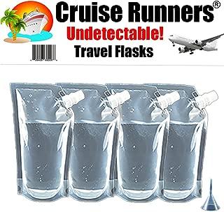 CRUISE RUNNERS Brand Ship Kit Flask Sneak Alcohol Runner Rum Liquor Smuggle Booze (4x32 oz. + Travel Funnel)