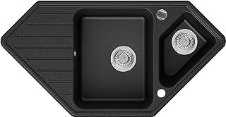 Granitspüle Graphit 97 x 49 cm, Spülbecken  Siphon Automatisch, Eckspüle ab 80er Unterschrank in 5 Farben mit Siphon und Antibakterielle Varianten, Küchenspüle von Primagran
