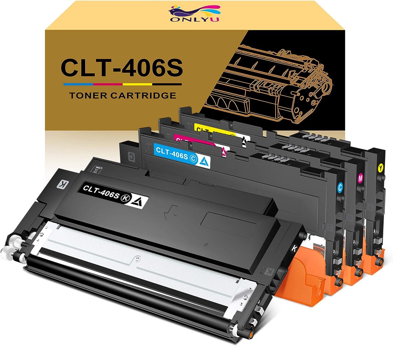 ONLYU Compatible Toner-Cartridge Replacement for Samsung CLT-406S CLT-K406S CLT-C406S CLT-M406S CLT-Y406S for Samsung Xpress C460FW C460W C410W (1Black,1Cyan,1Magenta,1Yellow)
