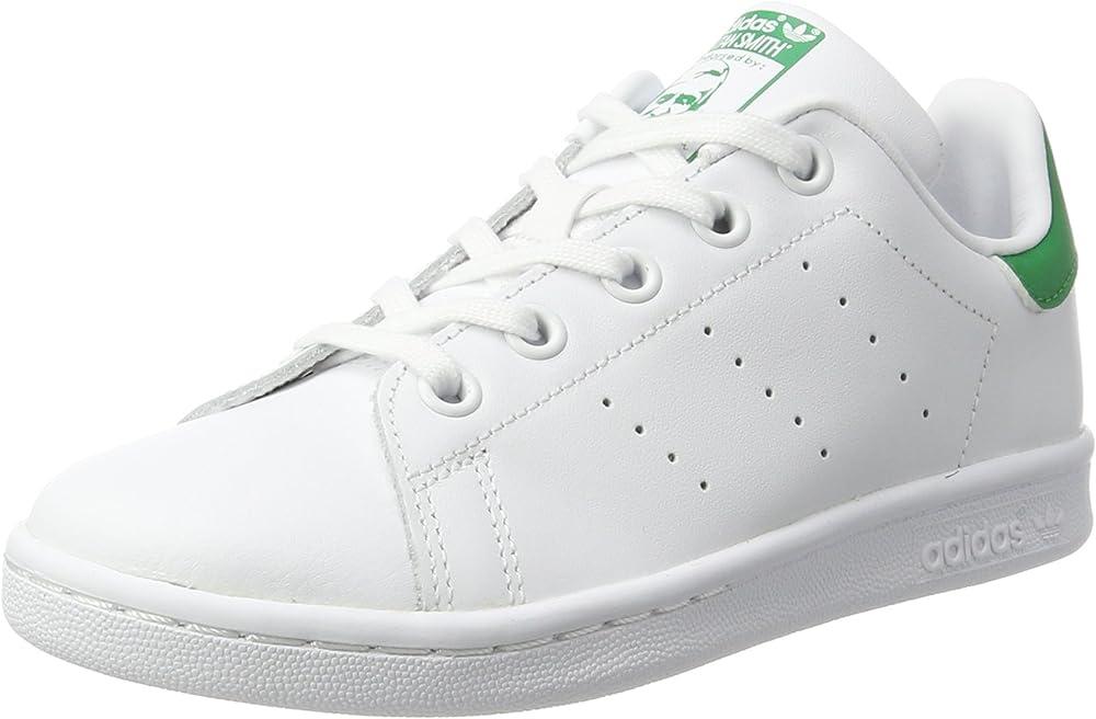 Adidas stan smith c, scarpe da ginnastica basse, unisex-bambini,in pelle B-BA8388