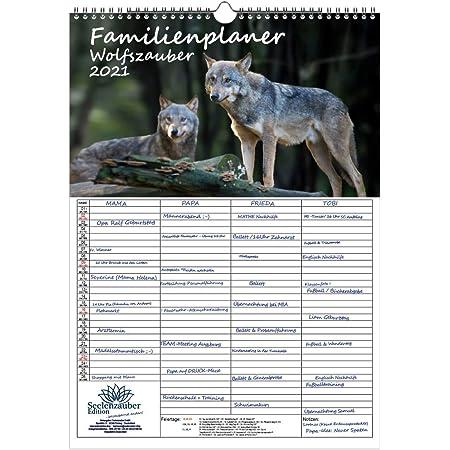 Wolfszauber Calendario da tavolo formato DIN A5 per lupo e lupi 2021 set regalo con 1 biglietto di auguri e 1 biglietto di Natale