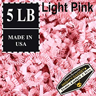 Mighty Gadget (R) 5 LB Light Pink Crinkle Cut Paper Shred Filler for Gift Wrapping & Basket Filling in a Box (80 oz)