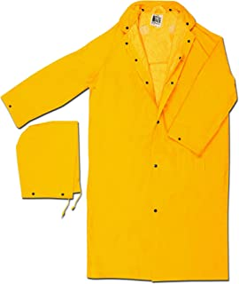 MCR Safety 240CXL 49-Inch Classic Plus PVC/Polyester Corduroy Collar Coat with Detachable Hood and Cape Vented Back, Yellow, X-Large