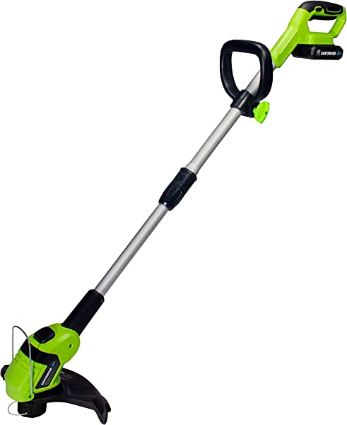 Earthwise LST02010 20 Volt 10 Inch Cordless String Trimmer 2 0Ah Battery Fast Charger Included