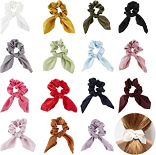 15 Pack Colorful Cute Solid Silk Soft Velvet Scrunchies Hair Ties With Rabbit Bunny Ear Bows Scrunchie Short Scarf Hair Tie Elastic Band Black White Fabric Bobble Scrunchy Ponytail Holder Accessories