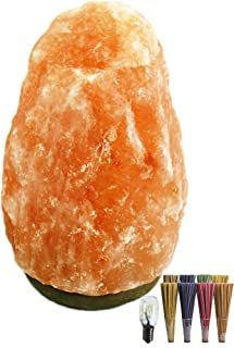 Lámpara de Sal Natural del Himalaya 3-4kg, Piedras Naturales 100% con Bombilla + Pack 20 Inciensos de Regalo