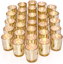 LETINE Gold Votive Candle Holders Set of 36 - Speckled Mercury Gold Glass Candle Holder Bulk - Ideal for Wedding Centerpieces & Home Decor