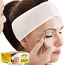 (3 Count) White Elastic Terry Cloth Spa Headband - Single Scotch Closure Stretch Towel Washable Facial Band Makeup Wrap Headbands Fits All Head Sizes (4 Inch Wide X 25 Inch Long, When Stretched)