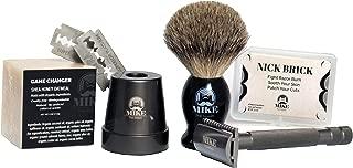 Mike the Mason   Perfect Shave Kit   RAVEN Safety Razor + NEST Razor Stand + Pure Badger Hair Brush, 1 Organic Honey Oatmeal Shave Bar + Nick Brick (Alum Block) +5 Premium Razor Blades