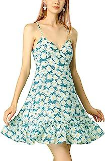 Allegra K Women's Spaghetti Straps Sundress Floral Daisy Summer Dress